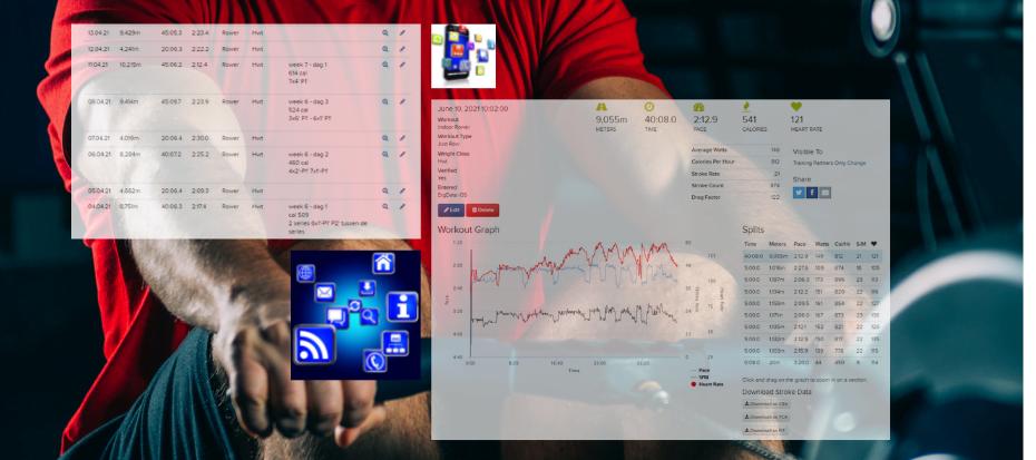 roeitrainer app - overzicht van de roeitrainer apps